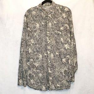 Lucky Brand Paisley Button Down Long Sleeve Shirt